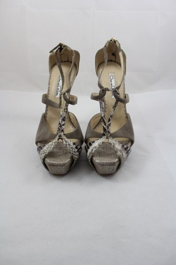 Oscar de la Renta Strappy Sue Snakeskin Ptform Grey Sandals