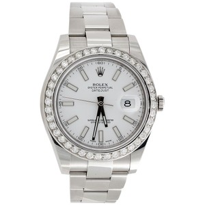 Rolex Mens 41mm 116300 DateJust Real Diamond Watch White Stick Dial 2.75Ct.