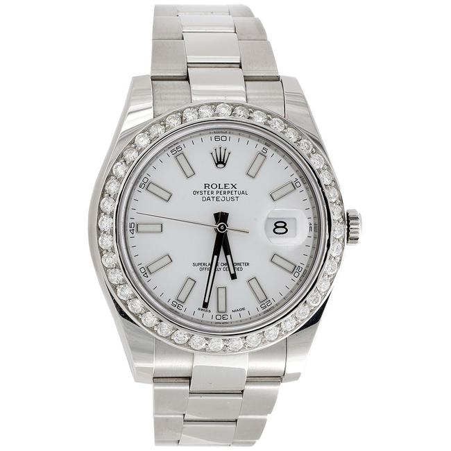 Rolex Stainless Steel / White Dial Mens 41mm 116300 Datejust Real Diamond Stick 2.75ct. Watch Rolex Stainless Steel / White Dial Mens 41mm 116300 Datejust Real Diamond Stick 2.75ct. Watch Image 1