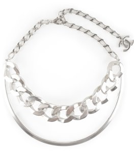 Chanel Chanel silver chain-link and clear acrylic 'Act II' collar necklace