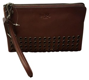 Coach Wristlet in Brick and gunmetal detail