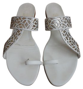 Salvatore Ferragamo Ferragamo Flats 9 8.5 White and Gold Sandals