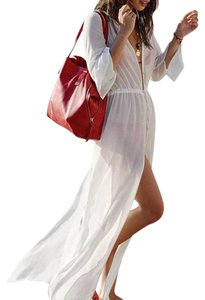Other Blue Island Sheer Beach Cover Up Maxi Dress, White