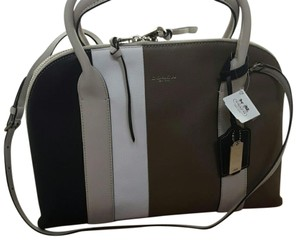 Coach Satchel in Colors are white, black, taupe/tan