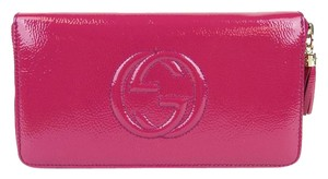 Gucci Leather Zip Around Clutch Wallet Travel Large 291102 Fuchsia 5563
