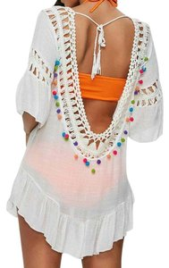 Other Blue Island Crochet Swim Cover Up Open Back Pom Poms, Multi