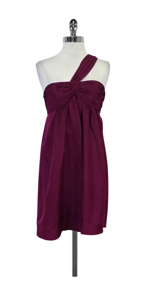 Bcbgmaxazria Wine Colored Silk One Shoulder Short Casual Dress Size
