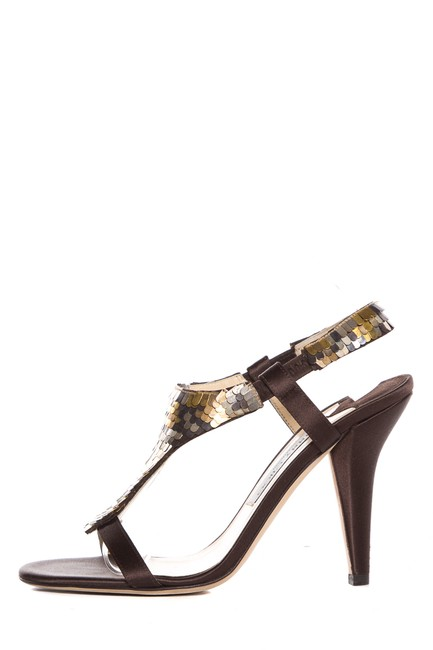 Jimmy Choo Brown and Gold Rown/Gold Satin with Sequin Detail Sandals Size EU 38 (Approx. US 8) Regular (M, B) Jimmy Choo Brown and Gold Rown/Gold Satin with Sequin Detail Sandals Size EU 38 (Approx. US 8) Regular (M, B) Image 1