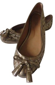 Coach Tassels Signature Fabric Leather Trimmed Gold Flats