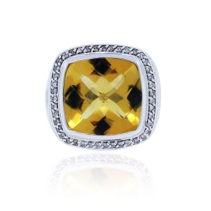 David Yurman David Yurman Citrine Albion & 0.44ctw Diamond Ring