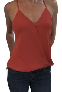Parker V-neck Silk Top coral