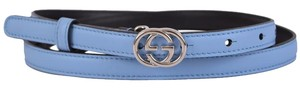 Gucci Gucci Women's 370552 Blue Leather Interlocking GG Buckle Skinny Belt