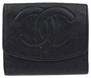 Chanel caviar CC bifold lambskin leather small wallet