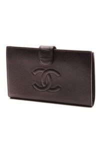 Chanel Chanel Black Caviar Leather CC French Wallet