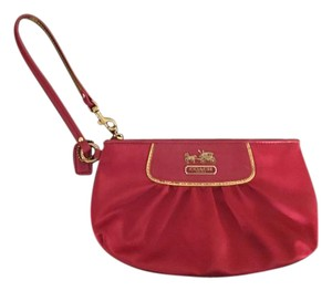 Coach Satin Wallet Makeup Case Wristlet in Magenta