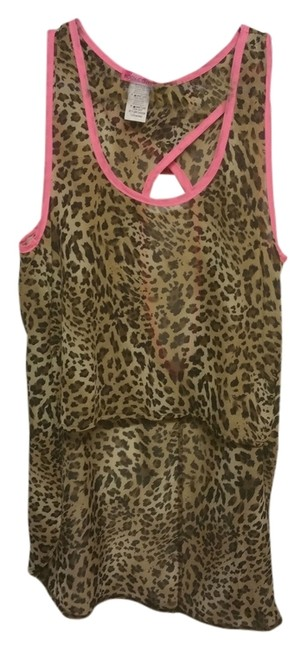 Body Central Date Night Night Out Casual Top Hot Pink Leopard