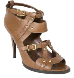 Gucci Leather Studded Brown Sandals