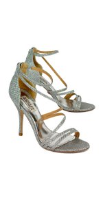 Badgley Mischka Silver Strappy Heeled Sandals