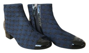 Chanel Tweed Ankle Houndstooth Blue Boots