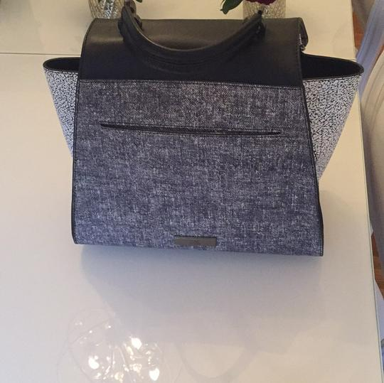 Zac Posen Eartha Black White Gray Leather And Suede Tote