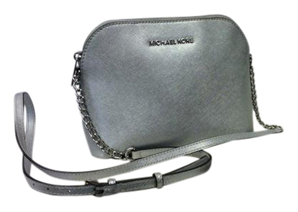 92413421c3d4 Michael Kors Cindy Large Dome Chain Strap Silver Leather Cross Body ...