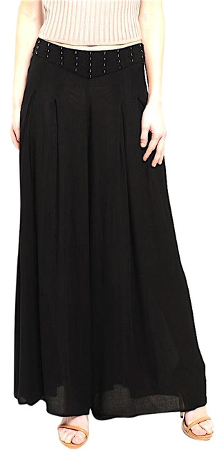 Black Beaded Waist Pleated Trouser Pants Size 12 (L, 32, 33) Black Beaded Waist Pleated Trouser Pants Size 12 (L, 32, 33) Image 1