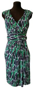 Diane von Furstenberg short dress Green, Cream, Black Classic Print Silk on Tradesy