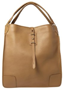 Belstaff Luxury Leather Made In Italy Unisex Tote in Camel brown