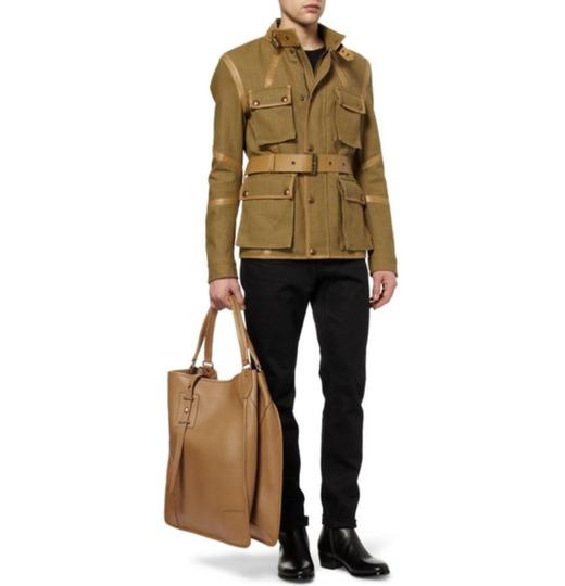 Belstaff Luxury Leather Made In Italy Unisex Tote in Camel brown Image 4