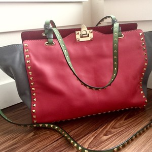 Valentino Satchel in Pink, grey, red and green
