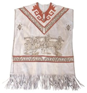 HANDMADE VINTAGE REAL LEATHER TOILED WESTERN FRINGED PONCHO LARGE Cape
