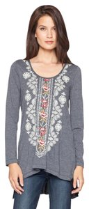 Johnny Was Cotton Longsleeve Embroidered Scoop Neck Tunic