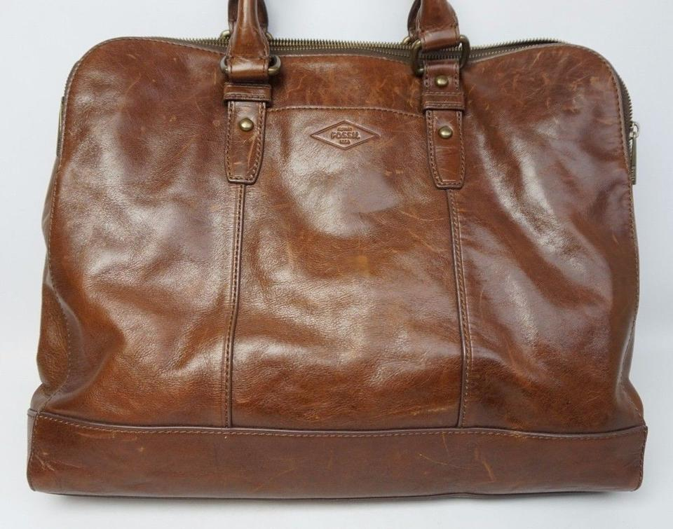 3d45e6f6aa63 Fossil Workbag Crossbody Shoulder Brown Leather Laptop Bag - Tradesy