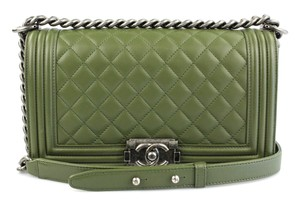 Chanel Boy Medium Green Cross Body Bag