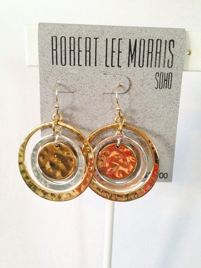 Robert Lee Morris Two-Tone Hammered Circle Orbital Earrings