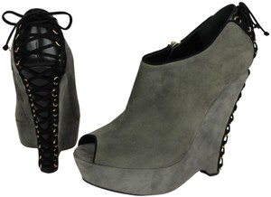 Saint Laurent Suede Lace Up Corset GREY BLACK Boots