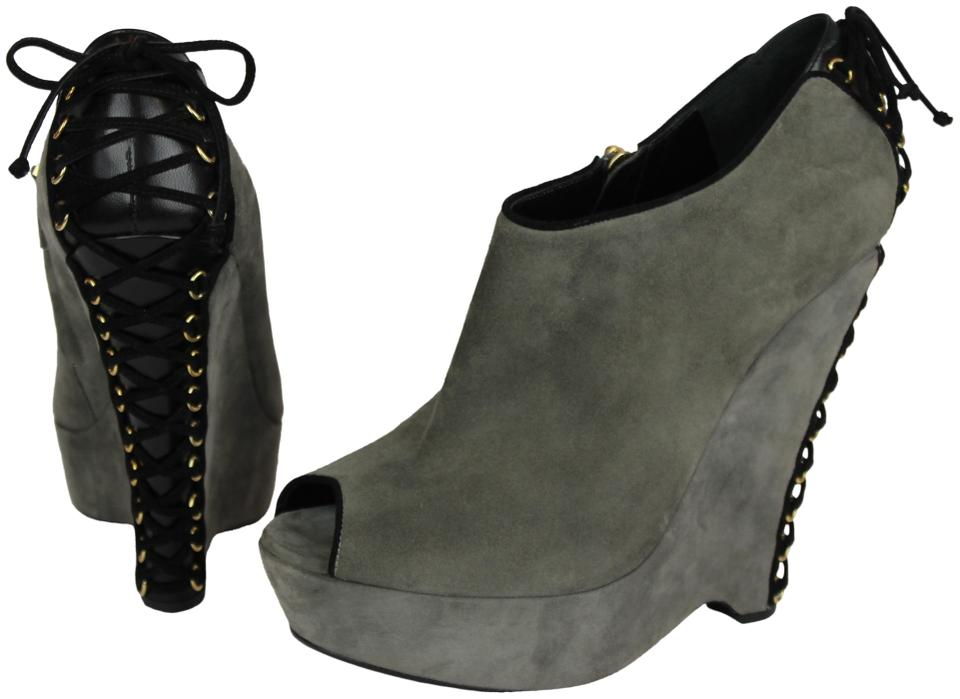 8d390a96 Saint Laurent Grey Black Yves Ysl Madge Suede Wedge Ankle Corset  Boots/Booties Size EU 40.5 (Approx. US 10.5) Regular (M, B) 81% off retail