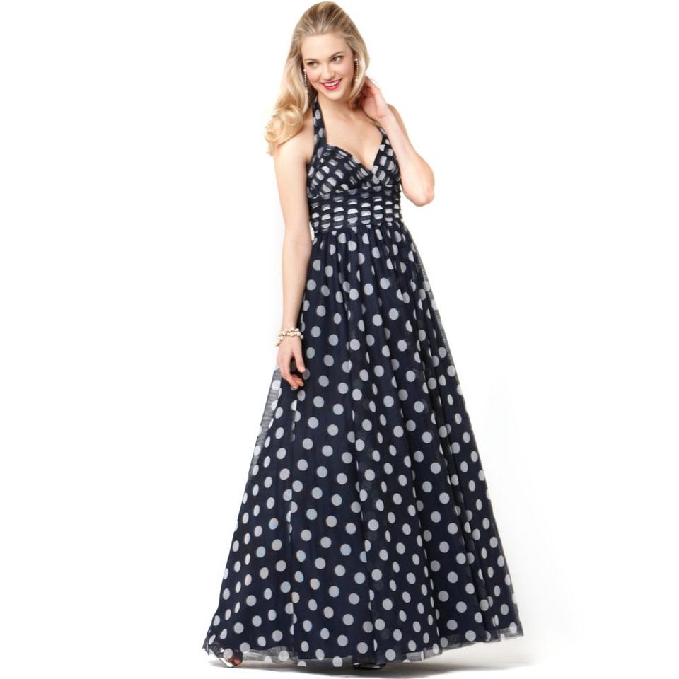 Adrianna Papell Navy Occasions Halter Polka Dot Evening Gown Long ...