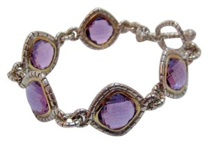Charles Krypell Cushion Cut Amethyst 14k Gold & White Gold-Plated Silver Bracelet