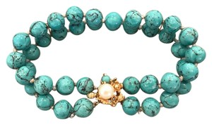 Other DOUBLE STRAND TURQUOISE BEAD BRACELET, 14K GOLD CLASP, CULTURED PEARL