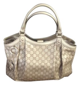 Gucci Leather Sukey Tote in Gold