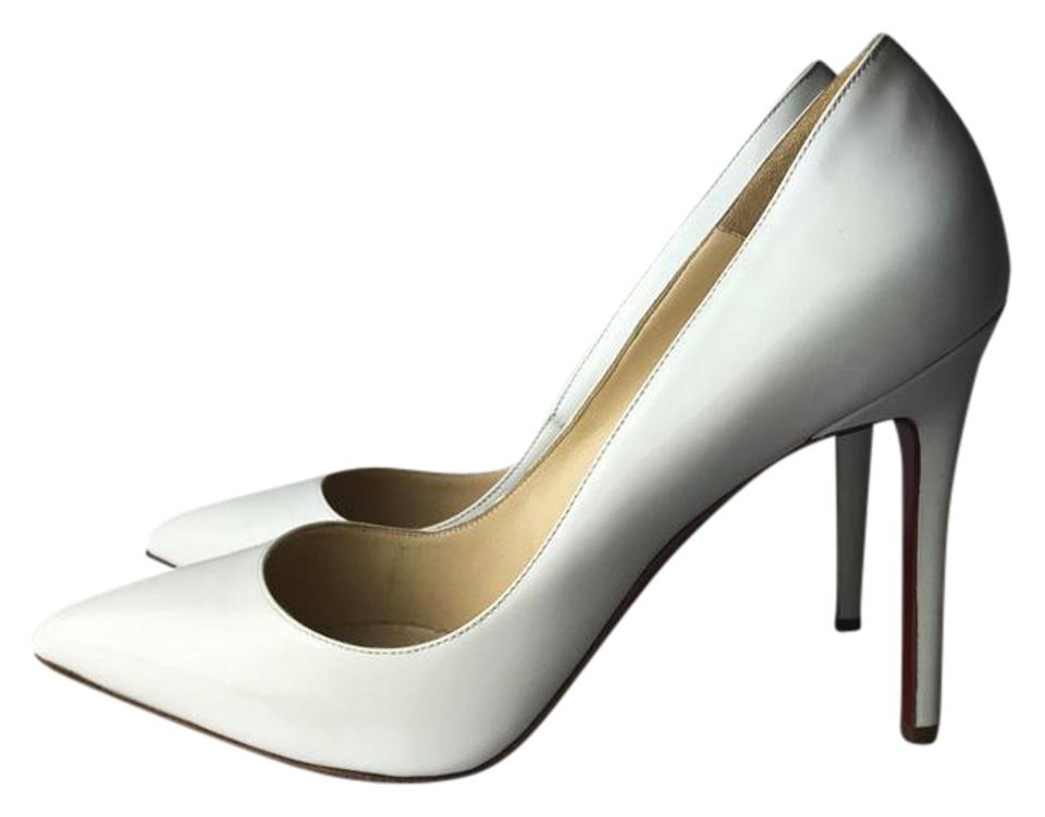 lowest price 18036 9e1a5 Christian Louboutin White Pigalle 100 Patent Calf Pumps Size US 8 56% off  retail