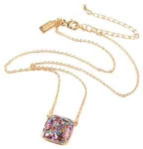 Kate Spade KATE SPADE 12K Gold Plated Multi-Glitter Square Pendant Necklace