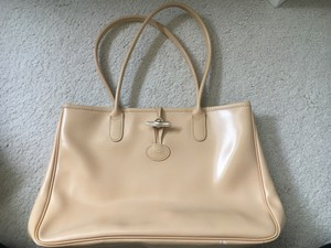 Longchamp Leather Roseau Tan Tote in Silver