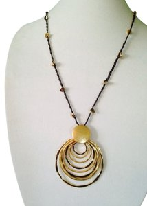 Robert Lee Morris Soho Gold-Tone Sculptural Circle Pendant Long Necklace