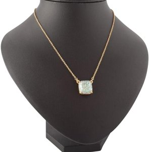 Kate Spade KATE SPADE 12K Gold Plated Opal Glitter Square Pendant Necklace