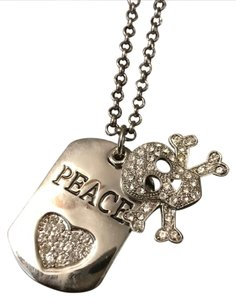 Other skull and peace dog tag necklace