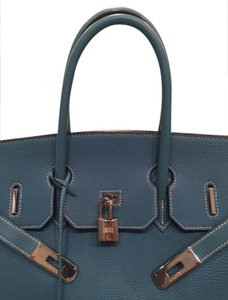 Hermès Birkin Leather Tote in Blue Jean