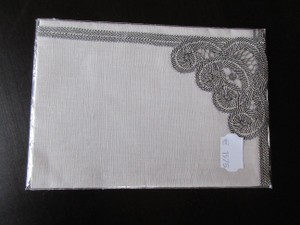 Gray Hand Made Belgian Lace Dinner Napkins Set Of 6 Decoration