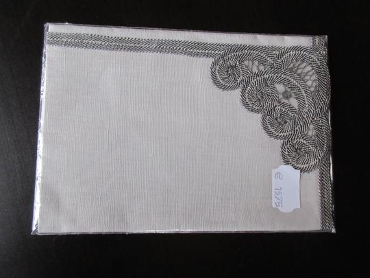 Gray Hand Made Belgian Lace Dinner Napkins Set Of 6 Decoration Image 0